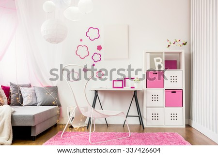 Image of spacious child room with new design furniture - stock photo