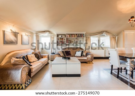 Image of spacious lounge in baroque style  - stock photo