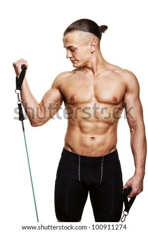 Image of sportsman doing exercises - stock photo