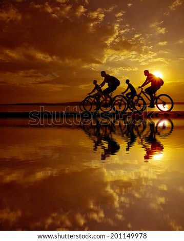 Image of sporty company friends on bicycles outdoors against sunset. Silhouette A lot phases of motion go of four 4 cyclist along shoreline coast Reflection sun on water Copy Space for inscription - stock photo