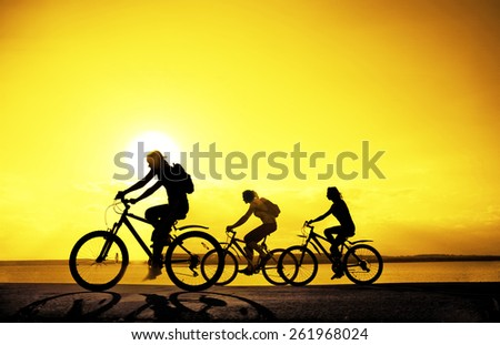 Image of sporty company friends on bicycles outdoors against sunset. Silhouette A lot phases of motion go of three 3 cyclist along shoreline coast Reflection sun on water Copy Space for inscription - stock photo
