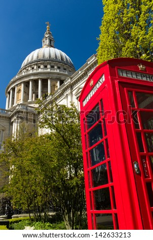 Image of St Paul's Cathedral, London, England with a red phone box in the foreground