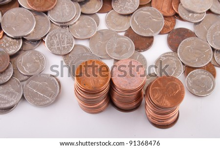 Image of stacked pennies.