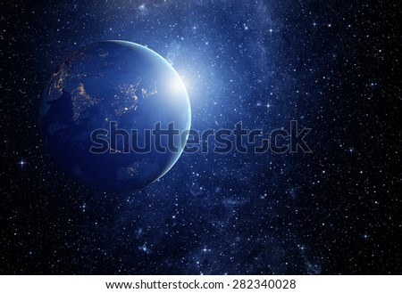 image of stars and a planet in the galaxy. Some elements of this image furnished by NASA - stock photo