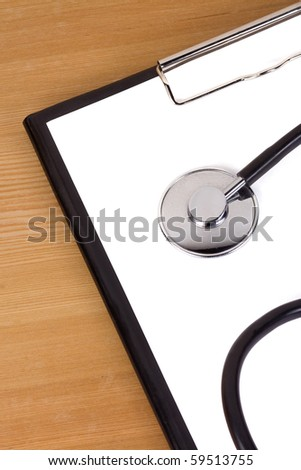 image of stethoscope and blank - stock photo