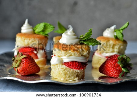 Image of strawberry shortcakes on a serving tray - stock photo