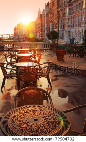 Image of street cafe early morning