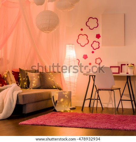 Image of stylish comfy interior for princess girl