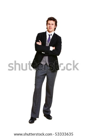 Image of successful businessman in elegant suit looking at camera