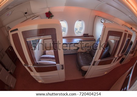 Image of Suite Class Cabin on Singapore Airlines. Image taken on May 3, 2016.