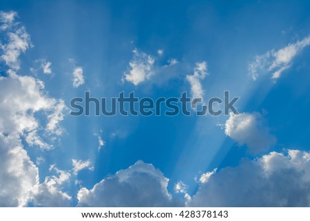 image of sun ray(beam) on the sky on day time for background usage.
