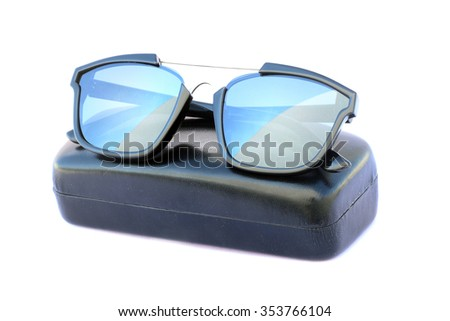 Image of sunglasses and black box on a white background