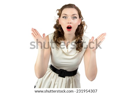 Image of surprised woman with open mouth on white background