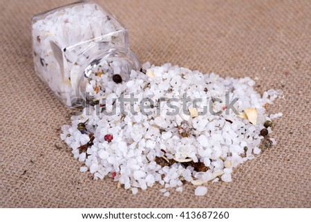 image of table salt herb in containers - stock photo