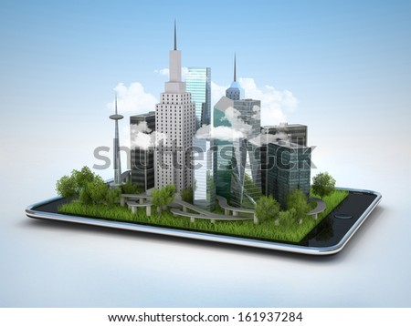 Image of tablet with illustration of city, 3d  - stock photo