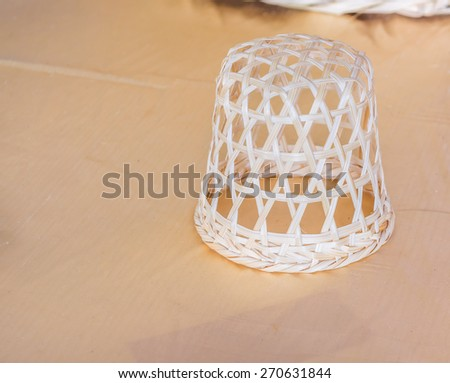 image of Thailand wooden handicraft  basket . - stock photo