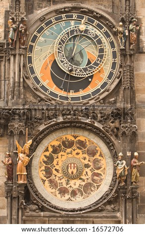 Image of the astronomical clock in Prague.