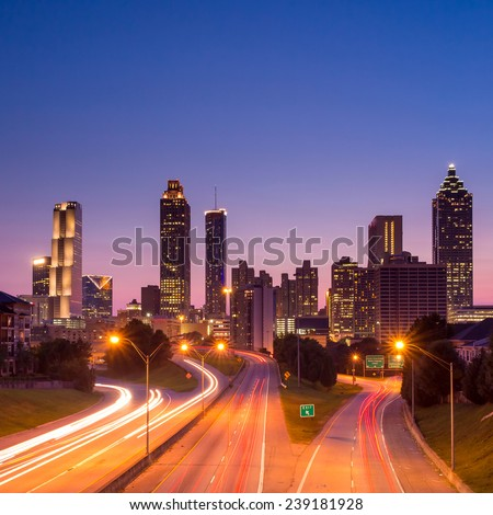 Image of the Atlanta skyline during twilight  - stock photo