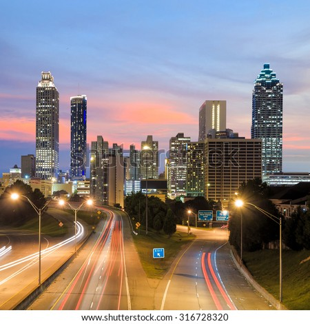 Image of the Atlanta skyline during twilight  USA