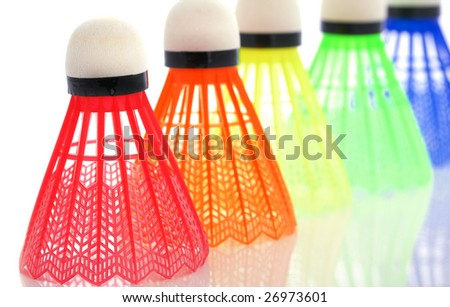 Image of the colorful shuttlecocks for badminton - stock photo