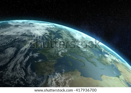 Image of the earth on black background