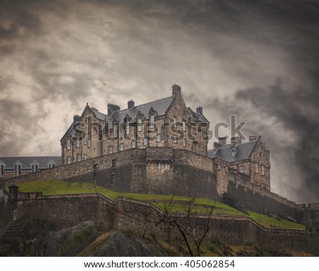 Image of the Edinburgh rock and its medieval castle. Some noise.  - stock photo
