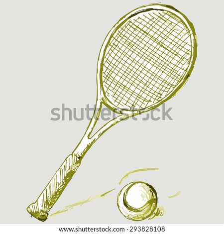 Image of the equipment for the game of tennis. Tennis racket and ball. Raster version - stock photo