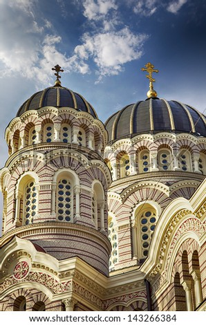 Image of the grand orthodox cathedral in center of Riga, Latvia. - stock photo