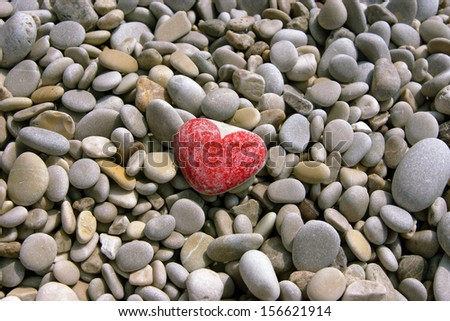 image of the heart on the sea pebble                 - stock photo
