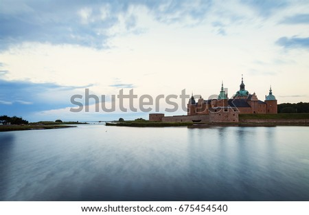 Image of the historic castle by the waterfront in Kalmar, Sweden.