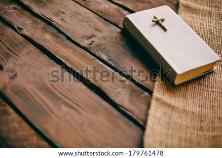 Image of the Holy Writ on wooden background  - stock photo