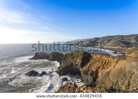 Image of the Marin Headlands and Rodeo Beach - stock photo