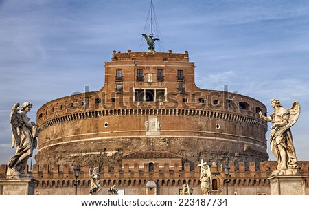 Image of the medieval fortification of Sankt Angelo in Rome, Italy.  - stock photo