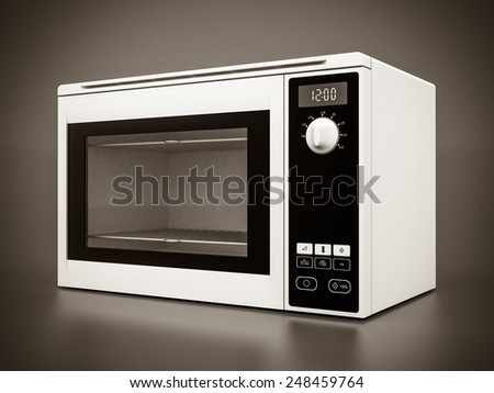 Image of the microwave oven on a gray background - stock photo