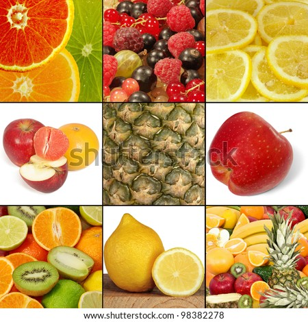 image of the mix different fruits and berries - stock photo