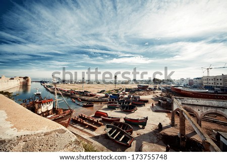 Image of the old boats in the marina, toned image - stock photo
