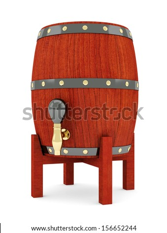 image of the old wine barrels on a white background - stock photo