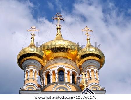 image of the orthodox cathedral in Yalta, Ukraine. - stock photo