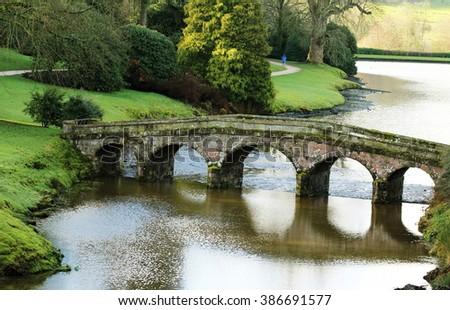 Image Of The Palladian Bridge In Stourhead Landscape Garden, Stourton,  Wiltshire, England.