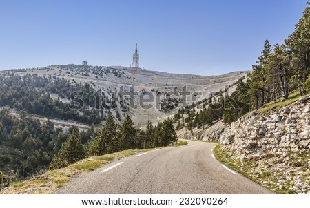 Image of the road to Mont Ventoux on the north part of the massif. Mont Ventoux is the high mountain in Provence in south of France very famous among the cyclists. - stock photo