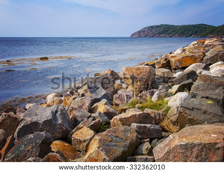 Image of the rocky coastline of Molle, Sweden.  - stock photo