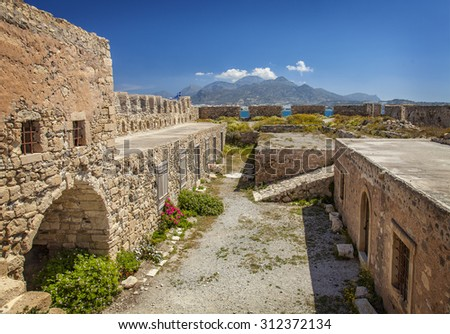 Image of the ruined venetian fortress of Kales in Lerapetra, Crete - stock photo