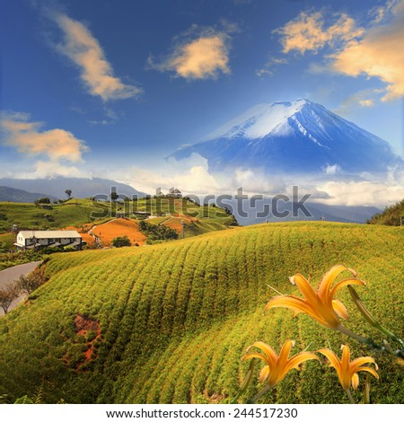 Image of the sacred mountain of Fuji in the background of blue sky at Japan for adv or others purpose use