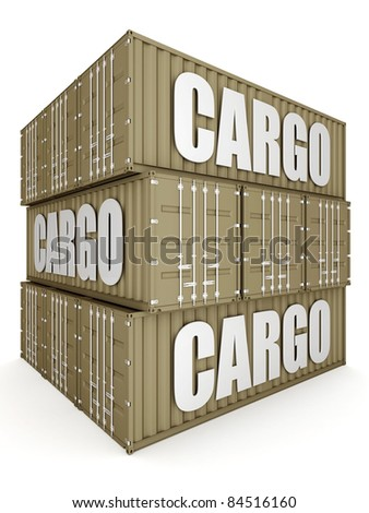 image of the shipping container on a white background - stock photo