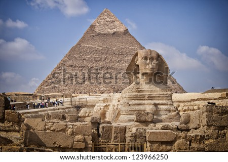 Image of the Sphinx monument by the great pyramids in Cairo, Egypt. - stock photo