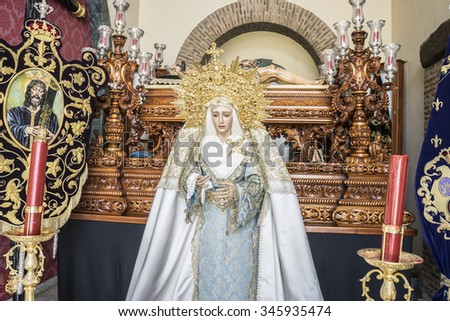 image of the Virgin Mary inside a church Marbella, Andalucia Spain - stock photo