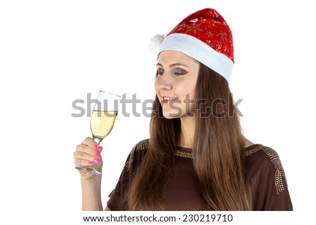 Image of the woman with glass of champagne on white background - stock photo
