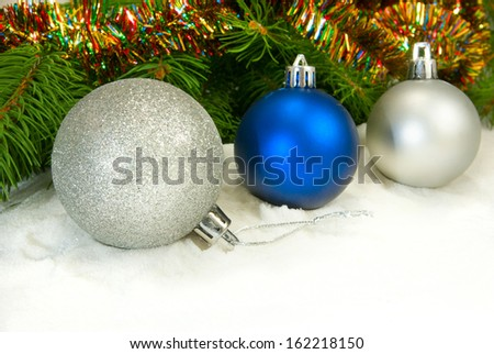 image of three balls on the fir branches background