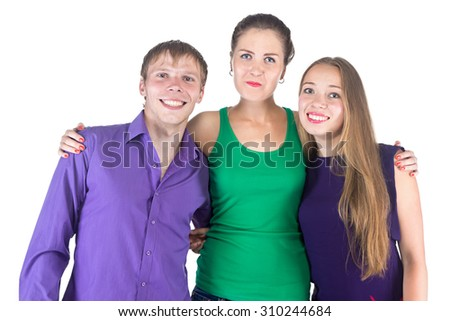 Image of three very happy smiling friends on white background