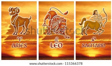 Image of three zodiacal signs Fire, Aries, Leo, Sagittarius  - stock photo